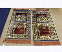 Pair of 20th Century Silk/Wool mix Prayer Rugs with triple gull borders, decorat