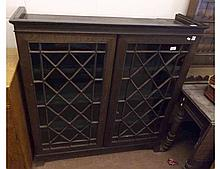 Late 19th/early 20th Century Oak Bookcase, two astragal glazed doors enclosing f