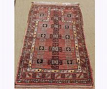 Caucasian Rug inset with geometric designs within a triple gull border, mainly p