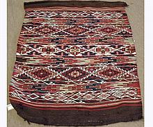"Kilim Rug, decorated with segmented lozenge design, mainly red field, 3' 6"" x 2'"