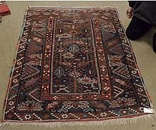 Caucasian Rug with triple gulled border, central panel of Tree of Life designs i