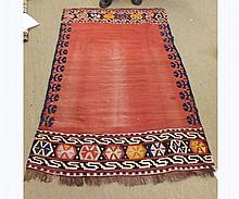 Kilim Rug with central vacant red panel each end decorated with geometric design