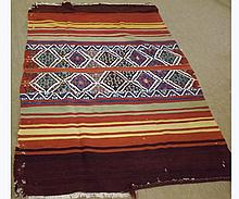 Kilim Rug with central geometric lozenge design, flanked on either side by strip