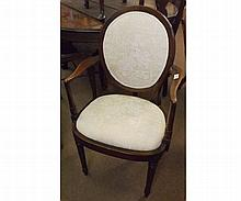 Mahogany Carver Chair, slightly swept arms and bowed apron, raised on tapering c
