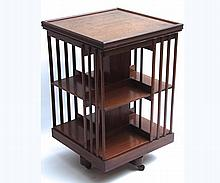 """Late 19th Century Mahogany revolving Bookcase fitted with two tiers, 21"""" wide"""