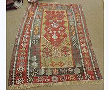 Kilim Rug, central geometric panel mainly yellow, grey and red field (holes etc)