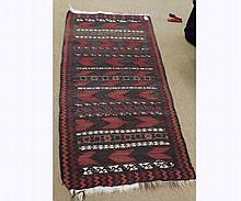 Kilim Runner, central panel of chevron and geometric designs, mainly dark green