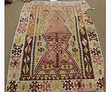 Kilim Rug, central geometric panel within a similar border, mainly puce, pale gr