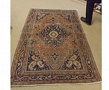 Caucasian Carpet, large central lozenge, triple gulled border, mainly rust field