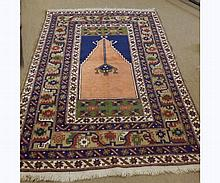 Caucasian Carpet, multi gulled border and central panel of geometric design, mai