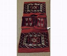 Caucasian Saddle Bag type carpet, applied with four panels of geometric designs