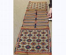 Caucasian Saddle Bag type carpet, decorated with panels of lozenges and parallel