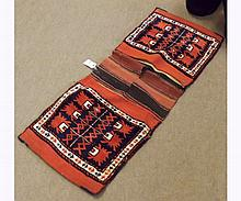 Caucasian Saddle Bag type carpet, decorated with two panels of geometric designs