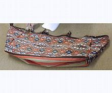 Large Caucasian Carpet Bag decorated with parallel panels of geometric designs,