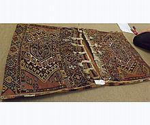 Caucasian Saddle Bag type carpet, multi gulled borders and geometric designs and