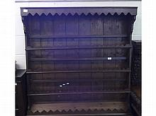 """Oak Plate Rack with overhanging cornice and three shelves below, 43 ½"""" wide"""