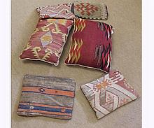 "A collection of six various Kilim type Cushions, four approx 14"" x 10"" and two 1"