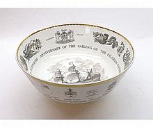 """Royal Worcester commemorative Mayflower Bowl number 430, 10"""" diameter with"""