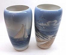 Pair of 20th Century Royal Copenhagen tapering cylindrical Vases, decorated
