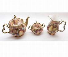 David R Bowkett (Ex Royal Worcester artist), Three Piece Tea Service compri