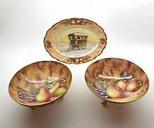 David R Bowkett (Ex Royal Worcester artist), pair of fruit-decorated Circul