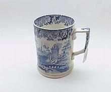 A large 19th Century blue and white decorated Cylindrical Tankard, with rib