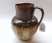A Doulton Lambeth Stoneware Jug, produced for Queen Victoria's Diamond Jubi