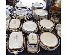 A quantity of Royal Worcester Vitreous Tableware, decorated with blue and g