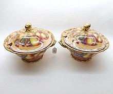 David R Bowkett (Ex Royal Worcester artist), pair of large Double-Handled h