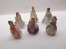 A group of six small Royal Doulton Figurines, to include Babi, Andrea, Penn