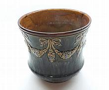 A Royal Doulton Stoneware Jardinière of tapering circular form, decorated w