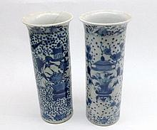 Pair of Chinese Cylinder Vases, with slightly everted rims, decorated in th