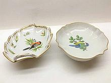 A Mixed Lot: two modern Dresden Dishes, one of leaf-form with looped handle