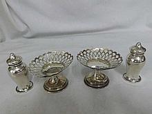 A Mixed Lot comprising: pair of George V small Silver Pedestal Bon-Bon Dish