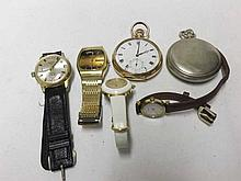 A Mixed Lot comprising: two various Open Face Keyless Pocket Watches includ