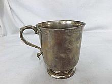 A small Victorian Silver Tankard of plain tapering form, hallmarked London