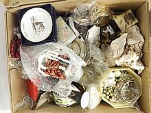 A large box of assorted Bric-a-Brac including Noritake Vase, gilt metal Jew