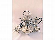 A Four Piece Silver Plated Tea Set comprising: Teapot, Hot Water Jug, Cream