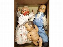 Three Vintage all-composition dolls, all in playwo