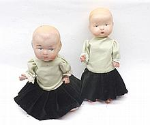 Two small composition Sister type Dolls, with pain