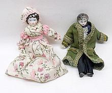 Two Porcelain Head and Shoulder Plate Dolls House