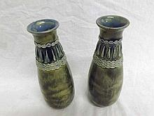 A pair of Royal Doulton Baluster Vases, the necks