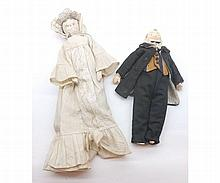 A Vintage Wooden Peg type Doll, together with a pa