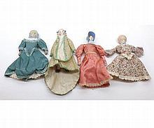 Four Small Painted Bisque Bonnet Head Dolls