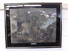 """After George Morland, framed engraving """"The Warren"""