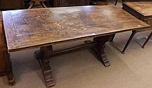 20th Century Oak Refectory Table with heavy plank