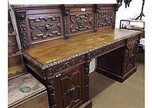 Large mid/late 19th Century Oak twin pedestal Side