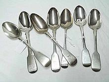 Group of seven Georgian and later Table Spoons, si