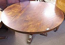 Large circular Oak pedestal Dining Table with heav