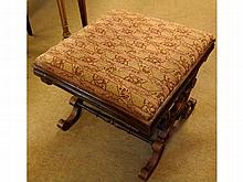 A 19th Century Rosewood X-frame Footstool, decora